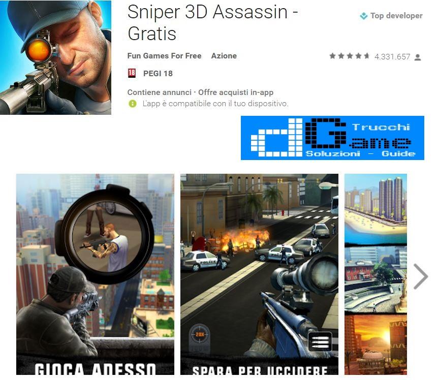 Trucchi Sniper 3D Assassin - Gratis Mod Apk Android v1.17.2