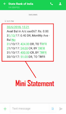 how to check sbi account mini statement through sms