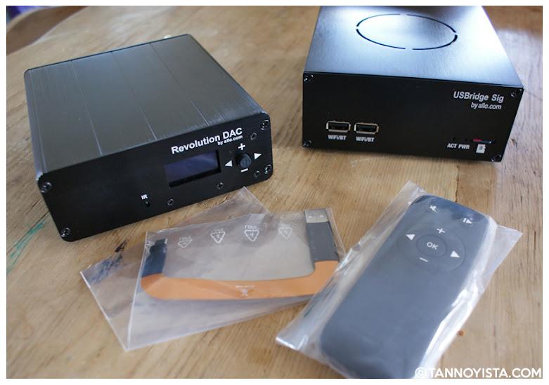 The ALLO Revolution DAC with the USBridge, remote and USBlink
