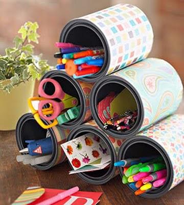 porta lapis reciclavel reciclagem lata sustentavel treco escritorio