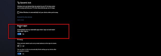 Tính năng khởi động lại ứng dụng trong Win 10 2004