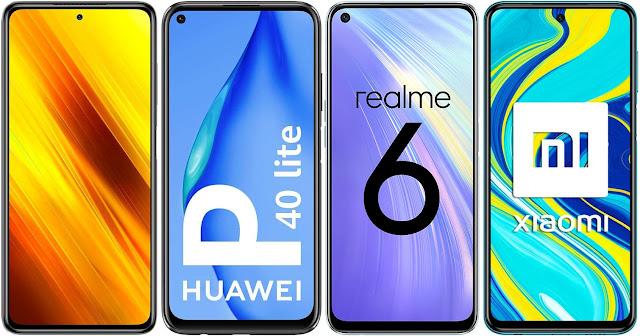 Xiaomi POCO X3 NFC 64 GB vs Huawei P40 Lite vs Realme 6 64 GB vs Xiaomi Redmi Note 9S 128 GB