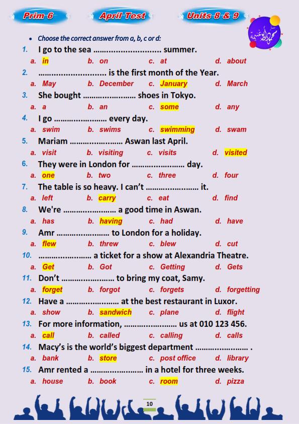 مراجعة اللغة الإنجليزية للصف السادس الابتدائي ترم ثاني.. إختيار من متعدد بالاجابات مستر محمود أبو غنيمة 6%2B%252810%2529