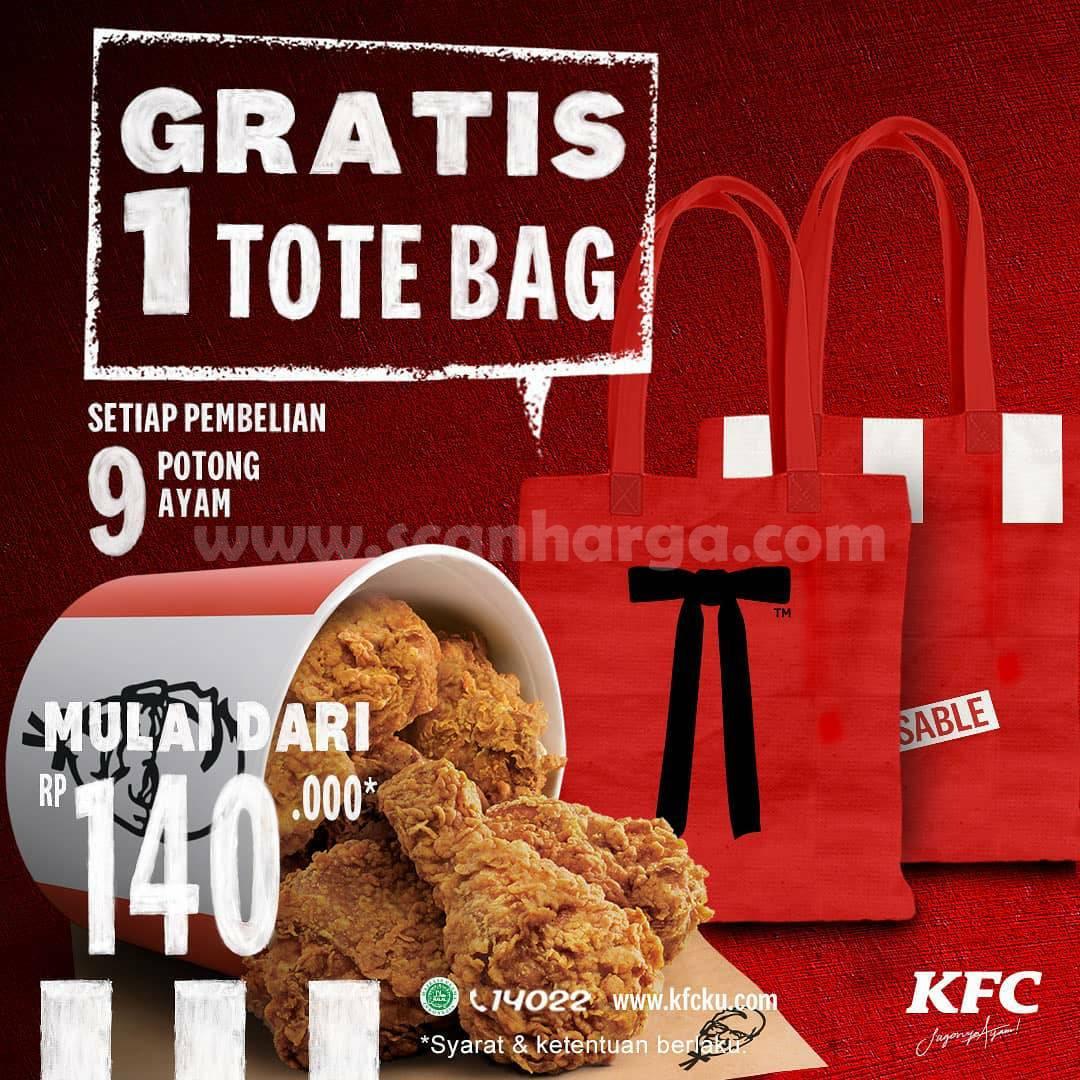 KFC Promo GRATIS 1 TOTE BAG Limited Edition – Setiap Pembelian 9 Potong Ayam