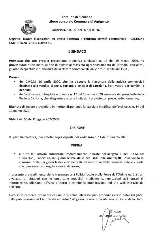 Comune di Siculiana - Ordinanza Sindacale n. 20 del 20 aprile 2020