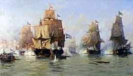 A naval scene, thought to be depicting a battle in 1826, painted by De Martino in 1888