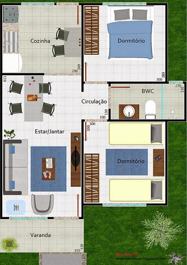 Plano de casa peque a moderna de 53 m2 planos de casas for Casa moderna gratis