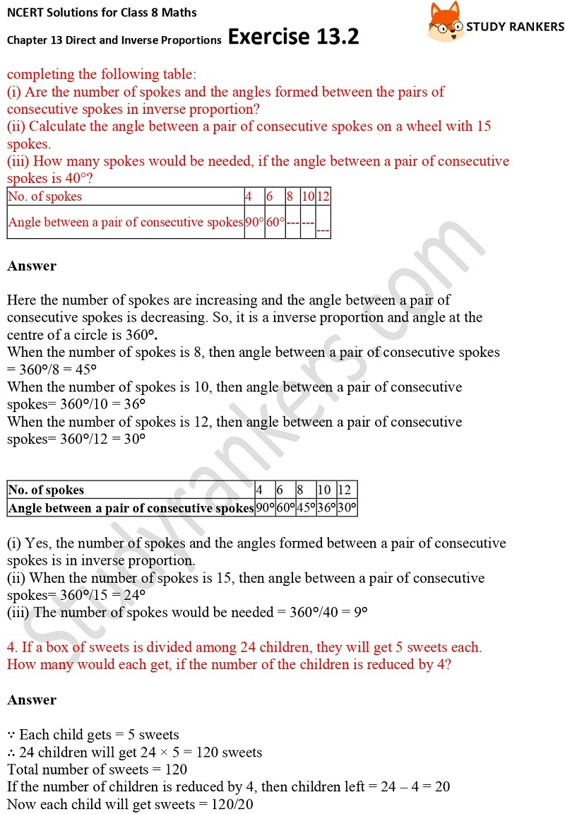 NCERT Solutions for Class 8 Maths Ch 13 Direct and Inverse Proportions Exercise 13.2 2