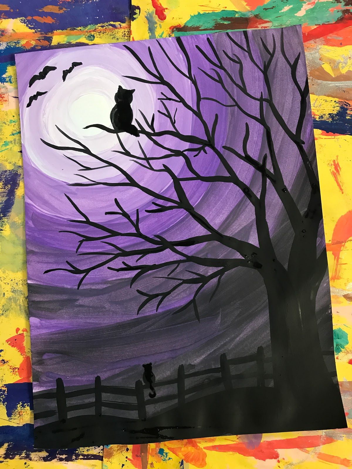 Elements Of The Art Room 4th Grade Spooky Sky Value Paintings