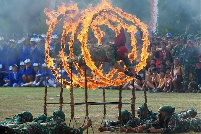 Peringatan HUT TNI Ke-74, Ribuan Prajurit TNI Unjuk kemampuan Bela Diri