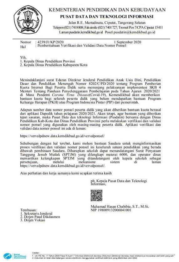 surat edaran nomor : 4239/j1/kp/2020 tentang pemberitahuan verifikasi dаn validasi data nomor ponsel