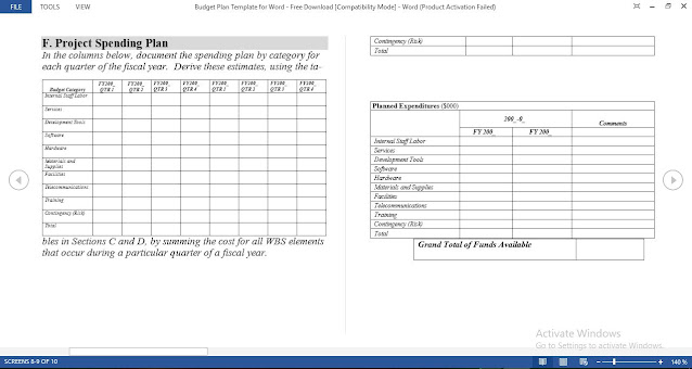 Project Spending Plan Template for Word - Free Download