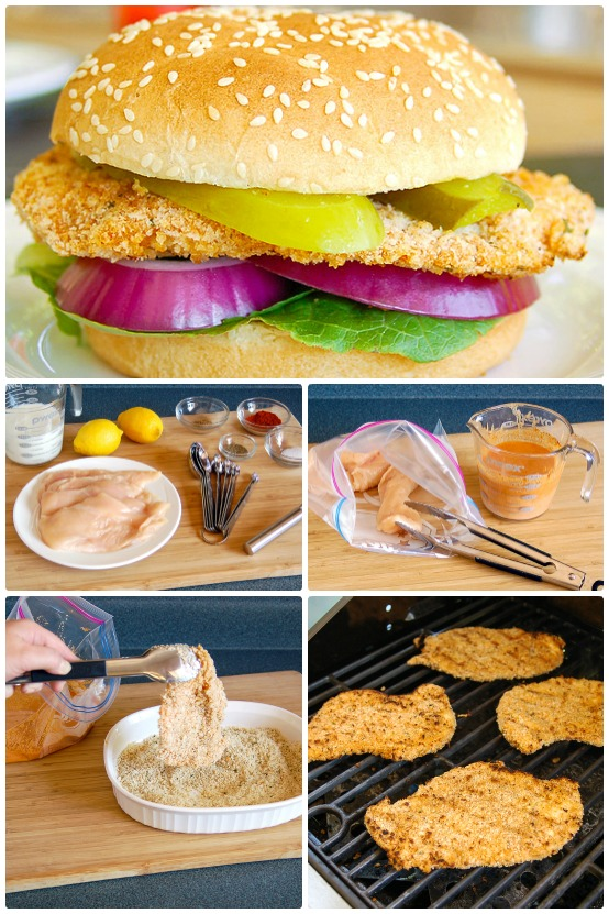 photo collage shows how to make baked breaded chicken sandwiches