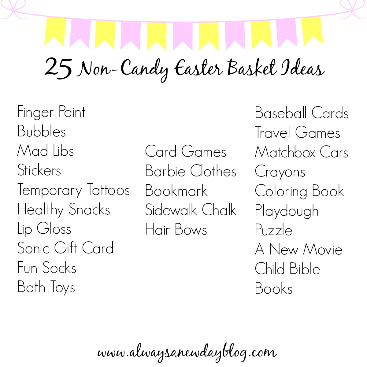 Always a new day 25 non candy easter basket ideas i took some of their favorite must haves and made this fun list the target 1 bin could also be your best friend when it comes to filling their baskets negle Gallery