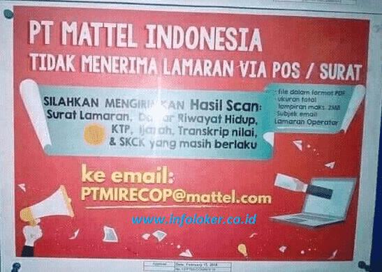 Lowongan Kerja PT Mattel Indonesia Jababeka Cikarang