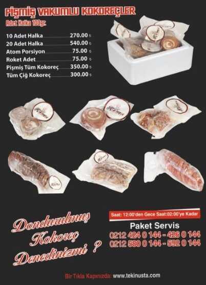 kokoreççi tekin usta istanbul menü fiyat listesi