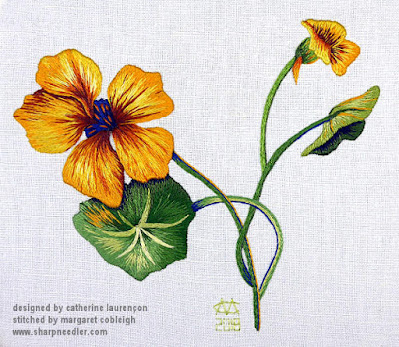 Completed embroidery of thread painted nasturtiums. (Catherine Laurencon Capucines (Inspirations))