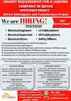 Free recruitment for Switchgears & Transformers project