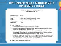 RPP Tematik Kelas 5 Kurikulum 2013 Revisi 2017 Lengkap