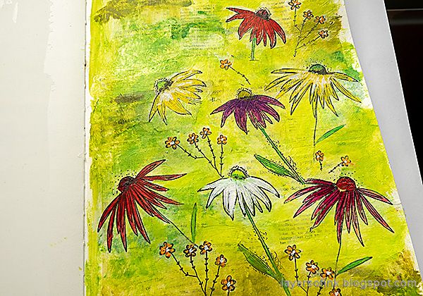 Layers of ink - Cone Flower Art Journal Page by Anna-Karin Evaldsson.