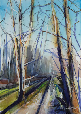 Watercolor painting of trees at Walton Woods