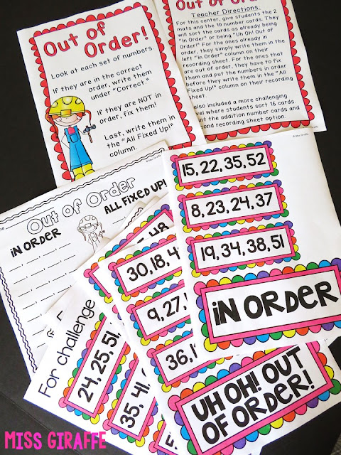 Ordering Numbers Math Center - read this to see how it works!