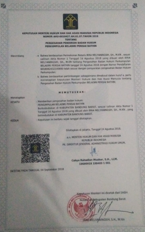 Perisai Bathin sekarang sudah resmi berbadan HUKUM