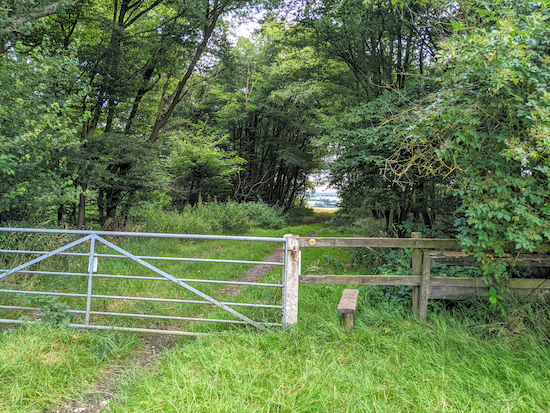 The gate into woodland on St Paul's Walden footpath 20 mentioned above