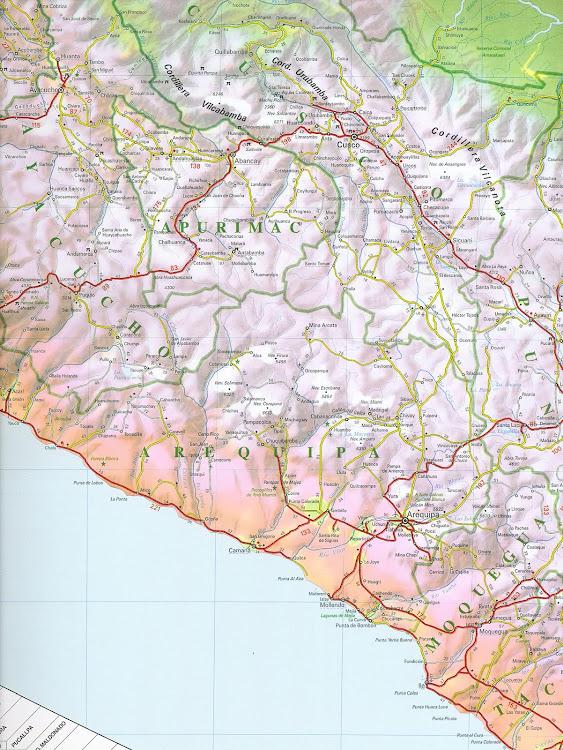 Mapa rodoviário da região de Arequipa - Peru