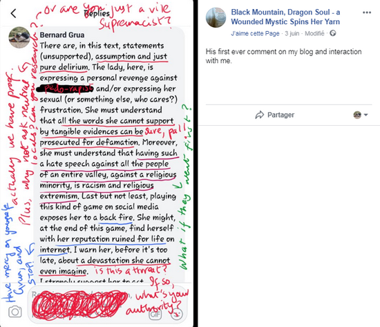 Attachment to Ramla Akhart 's June 2nd post regarding French Embassy - copy of the previous one with some more notes. She highlights the problems identified: assumption, defamation and extremism.