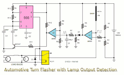Automotive Turn Flasher with lamp  output Detection