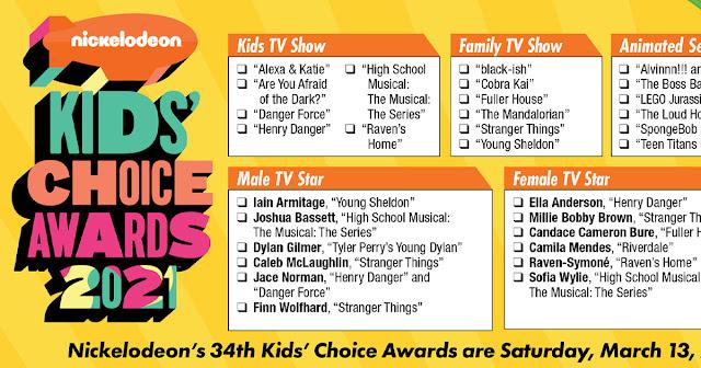 Kids Choice Awards printable ballot 2021