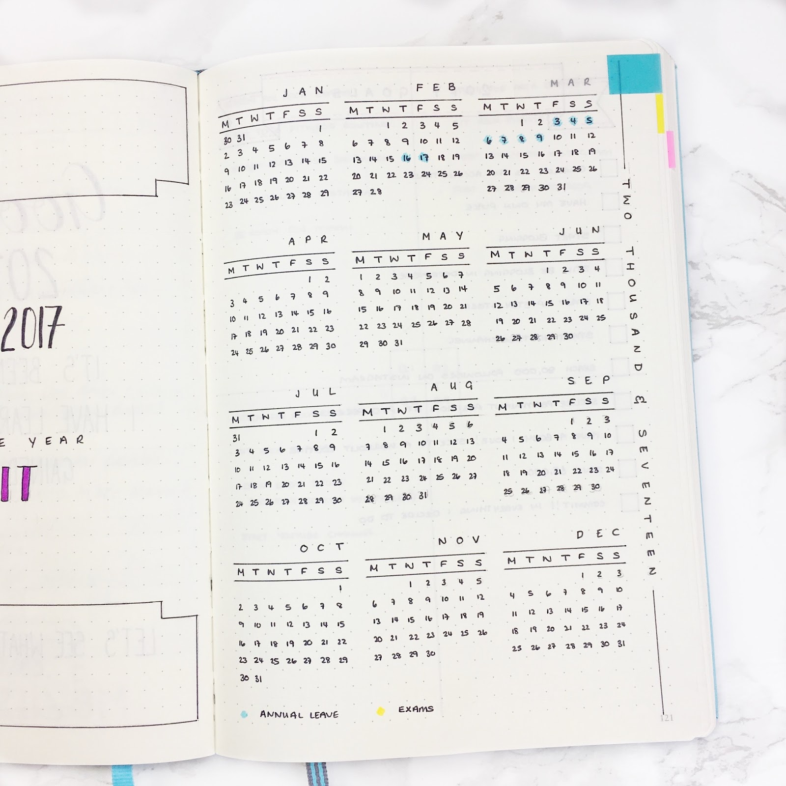 Bullet Journal Year at a Glance Template
