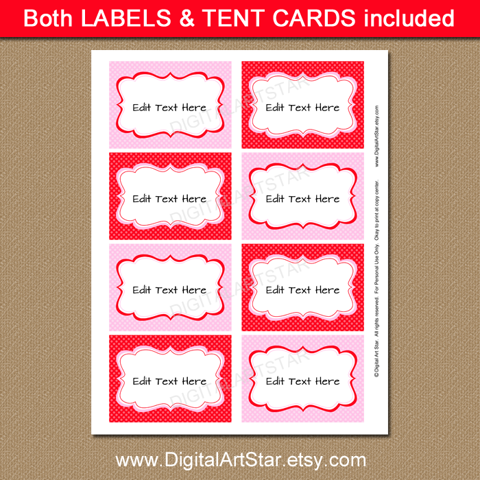 Valentine diy candy buffet labels in pink and red