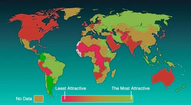 Map of The most beautiful women in the world