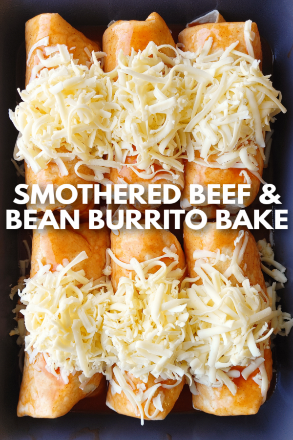 Smothered Beef & Bean Burrito Bake! An easy Mexican-inspired casserole recipe made from flour tortillas stuffed with ground beef, cheese and refried beans smothered in a savory queso sauce that comes together right in the oven.