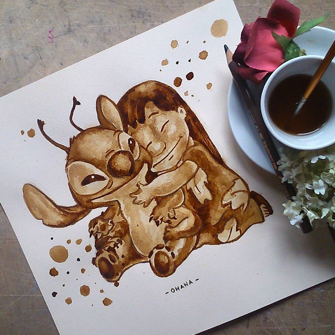 10-Lilo-and-Stitch-Walt-Disney-and-Pixar-Nuria-Salcedo-nuriamarq-Celebrities-and-Animated-Movies-Painted-with-Coffee-and-Brown-Pencil-www-designstack-co