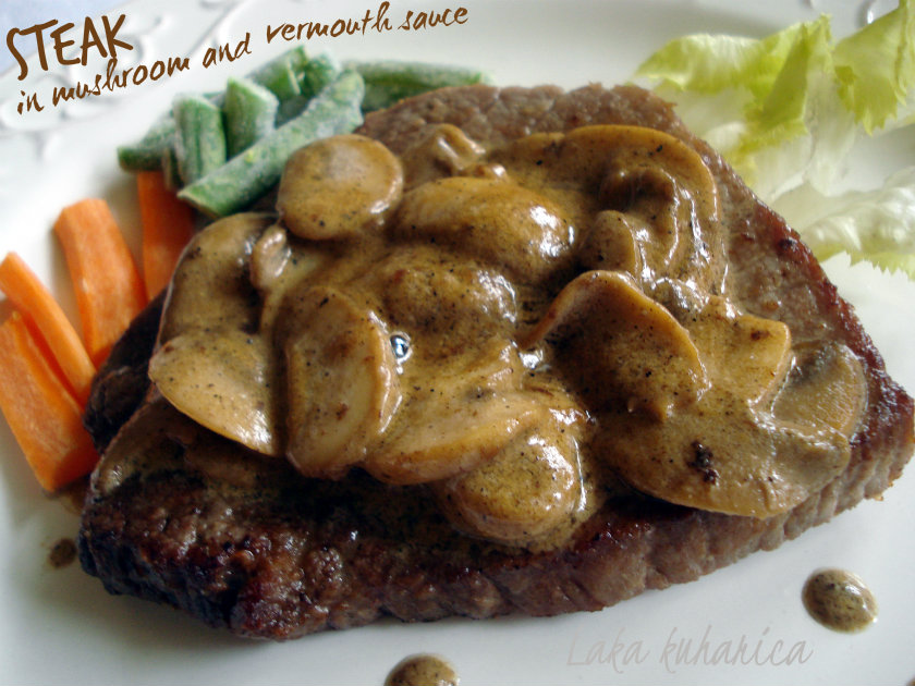 Steak in mushroom and vermouth sauce by Laka kuharica: beef round steak tastes especially good in this creamy sauce.