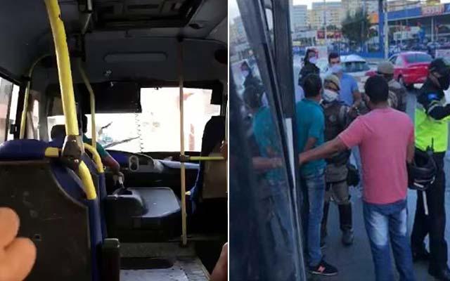 Motorista de micro-ônibus fura bloqueio policial em Lauro de Freitas; veja vídeo