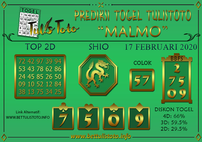 Prediksi Togel MALMO TULISTOTO 17 FEBRUARI 2020