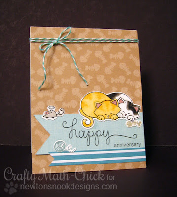 Kitty Anniversary card by Crafty Math Chick | Newton's Antics stamp set & dies by Newton's Nook Designs