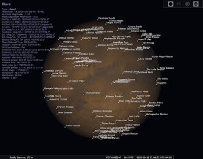 Mars with labels in Stellarium PC