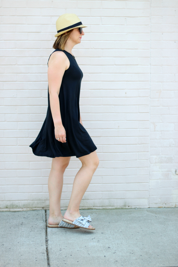 aventura, little black dress, how to style a swing dress, eco friendly fashion