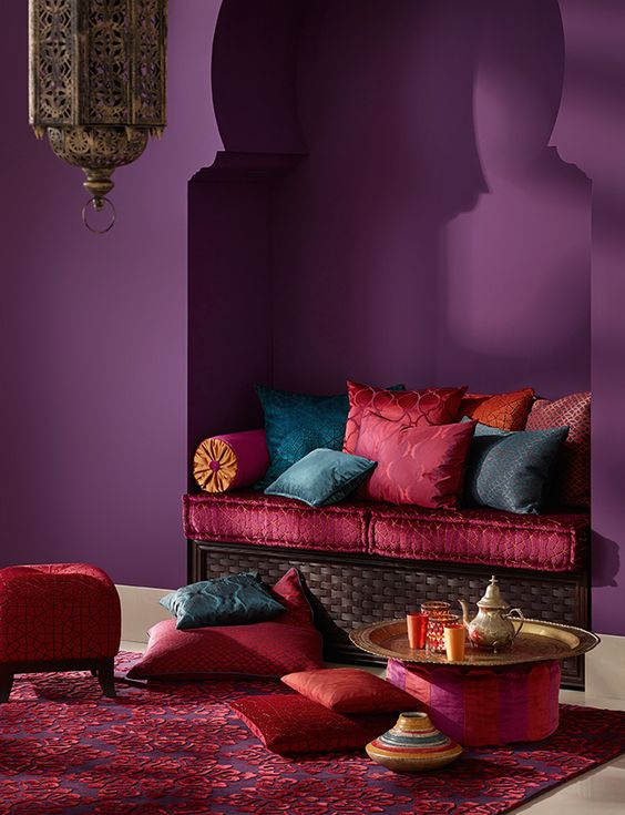 purple pink and blue analogous room