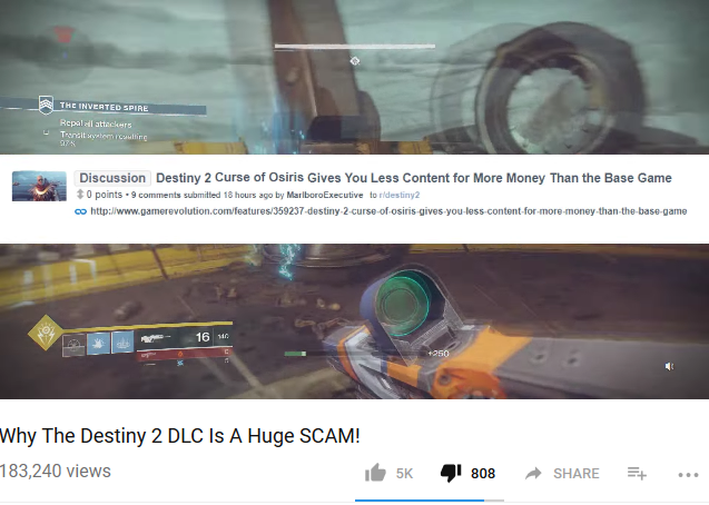 Destiny 2 DLC Curse of Osiris less content
