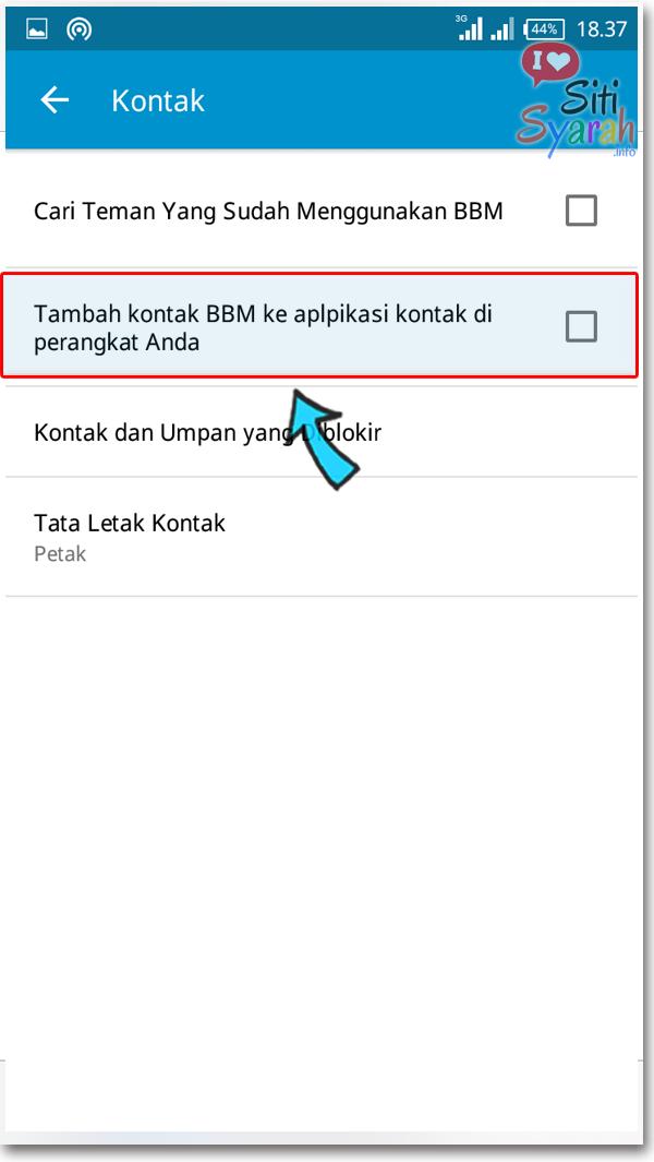 cara kontak bbm tidak tampil di phonebook