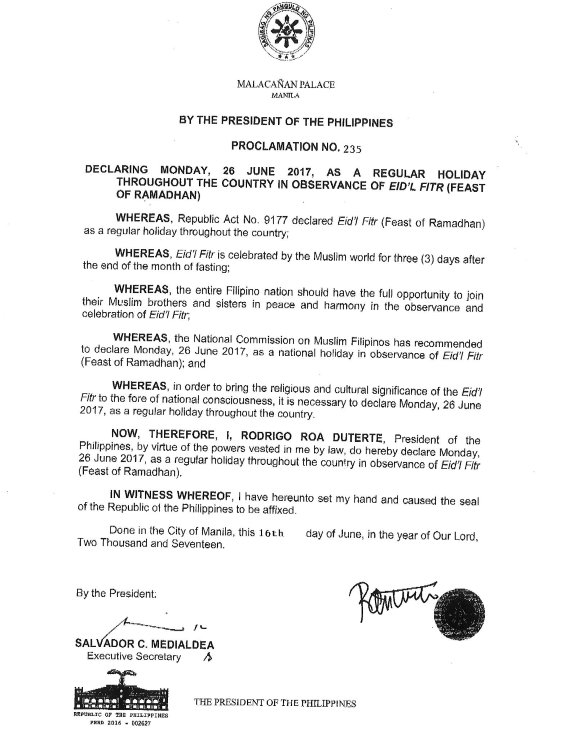 June 26, 2017 regular holiday for Eid'l Fitr celebration