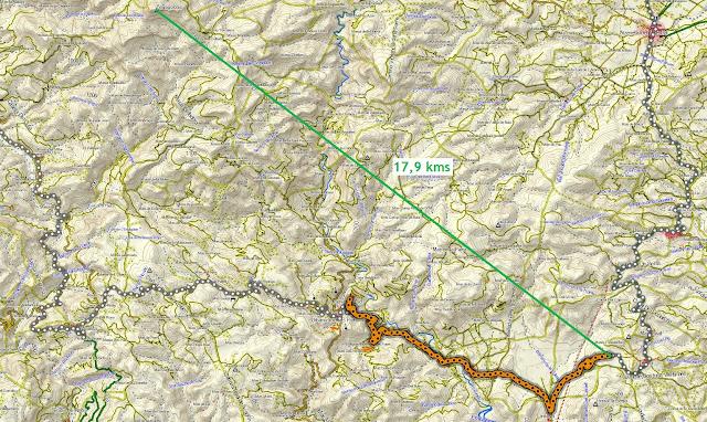 distancia entre zona costur y el penyagolsa sobre mapa topográfico