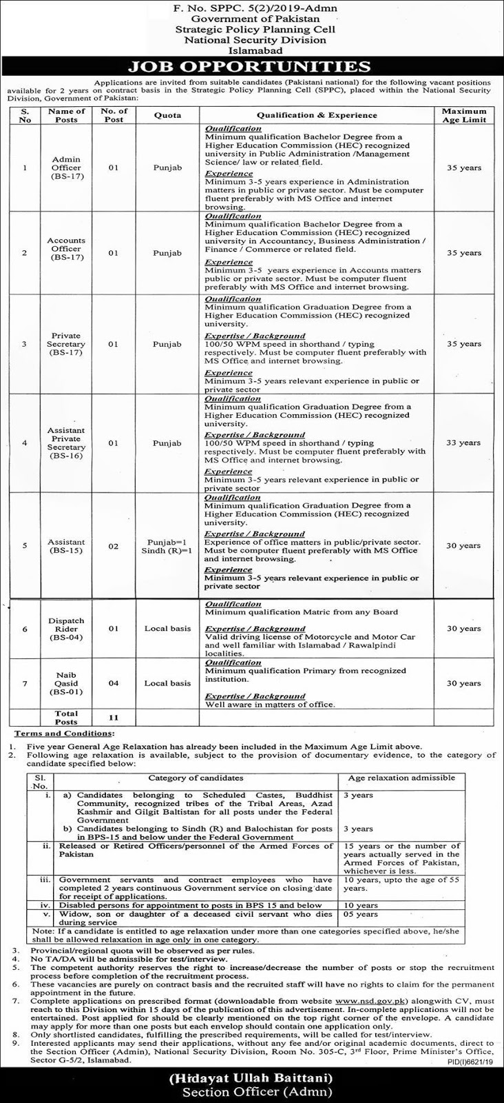 National Security Divisions Islamabad Jobs