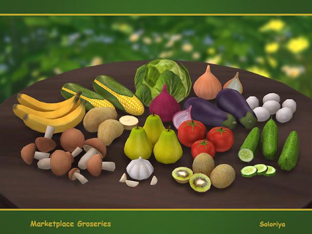 Marketplace Groceries Рынок продуктов питания для The Sims 4 Декоративные продукты для вашей кухни. Включает в себя 13 предметов. Каждый объект имеет 1-3 цветовых вариации. Все можно найти в категории Декоративные - Беспорядок. Предметы в наборе: - груши, - бананы, - помидоры, - огурец, - баклажан, - лук, - киви, - чеснок, -- картошка, - грибы, - кукуруза, - капуста, - яйца. Автор: soloriya
